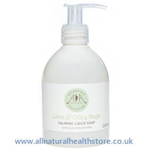 Amphora Aromatics Lime & Clary Sage 200ml Calming Liquid Soap, Pump bottle.