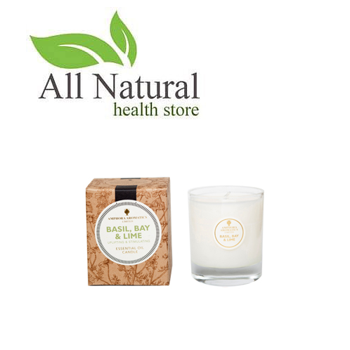 Amphora Aromatics 40hr Basil, Bay & Lime pot Candle, In a clear Glass Pot