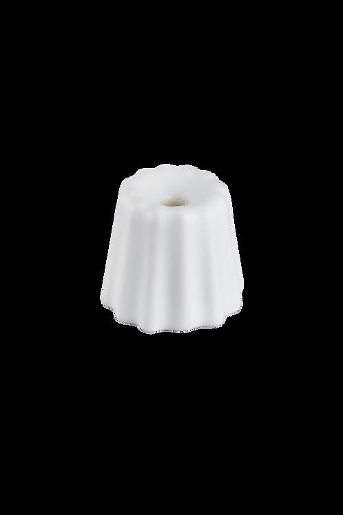 Porcelain Canele Candle Holder - White Matte
