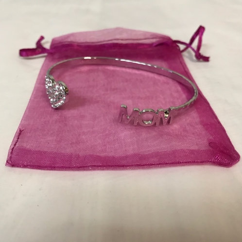 Crystal Heart Bangle Bracelet - Mom