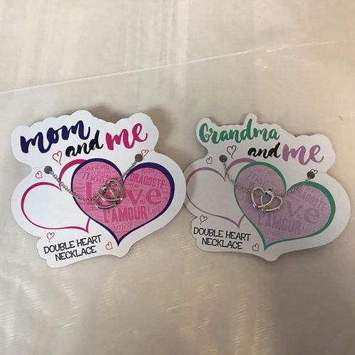 Double Heart Necklace - Mom, Grandma