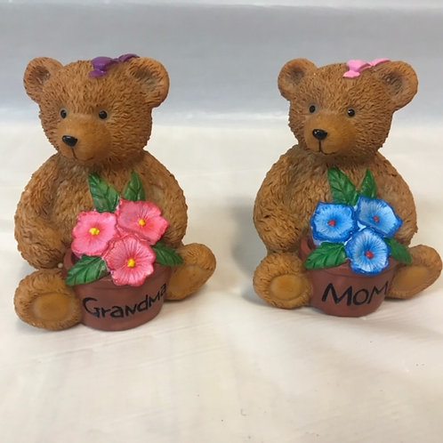 Bear w. Flowers - Mom, Grandma