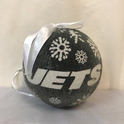 "SportsOrnament - LED Glitter 6""  Jets/Giants"