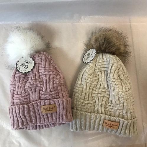 Weaved Pom Pom Hat
