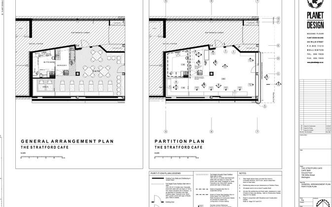 Chill / Stratford Cafe' - General Arrangement & Partition Plan