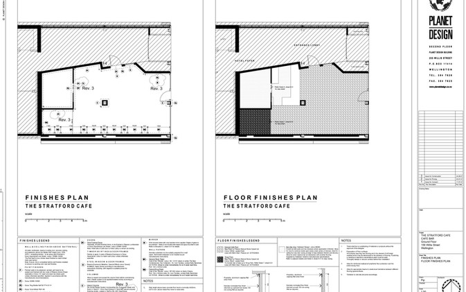 Chill / Stratford Cafe' - Wall Finishes Plan & Floor Finishes Plan
