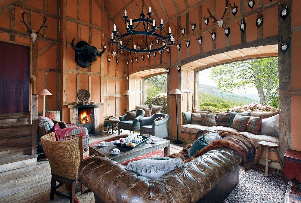 The sitting room in Lary Farmhouse, Aberdeen, Scotland, UK