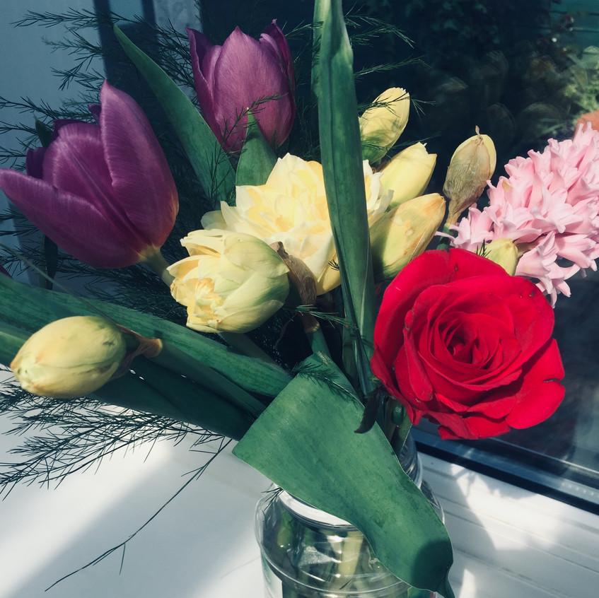 Flowers in the home of Jonny Benjamin mental health speaker