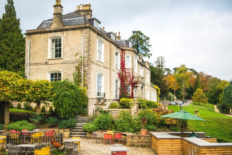 The patio at Combe Grove, Somerset, UK