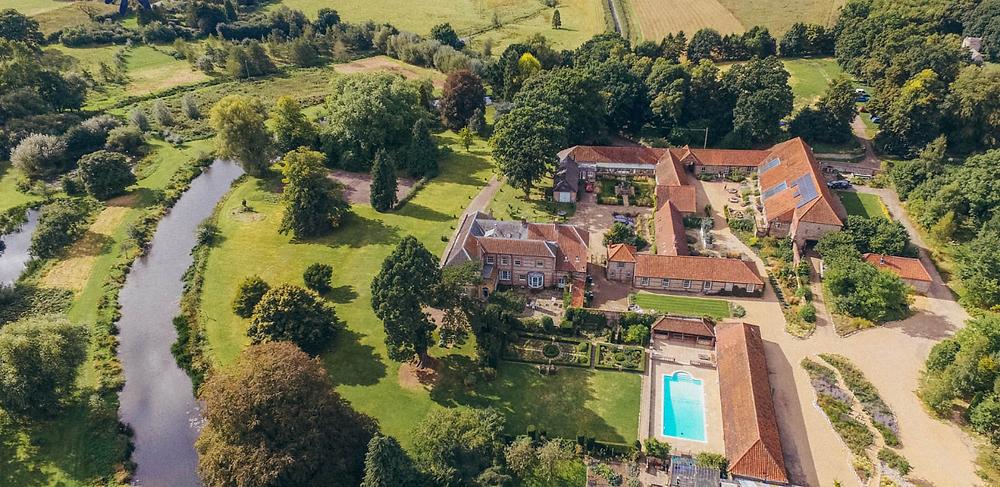 Ariel shot of West Lexham Manor, Norfolk