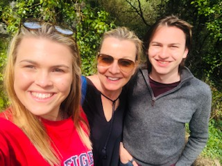 Suki Thompson and her family going for a walk during corona virus isolation
