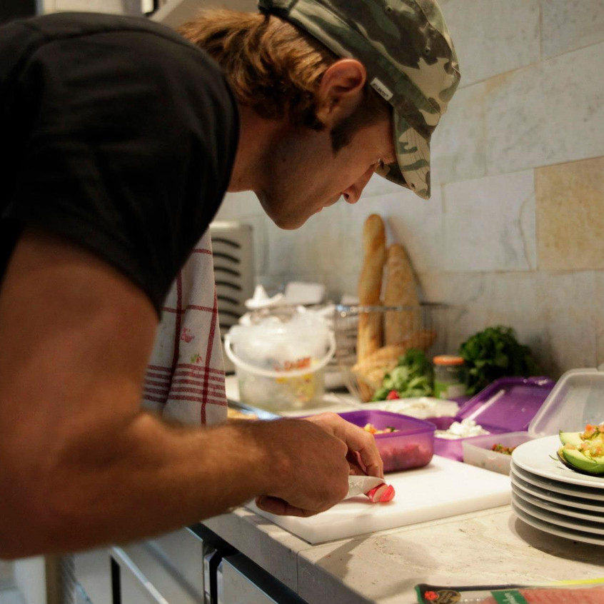 Angus Stephens, chef and co founder of Create Space, in kitchen
