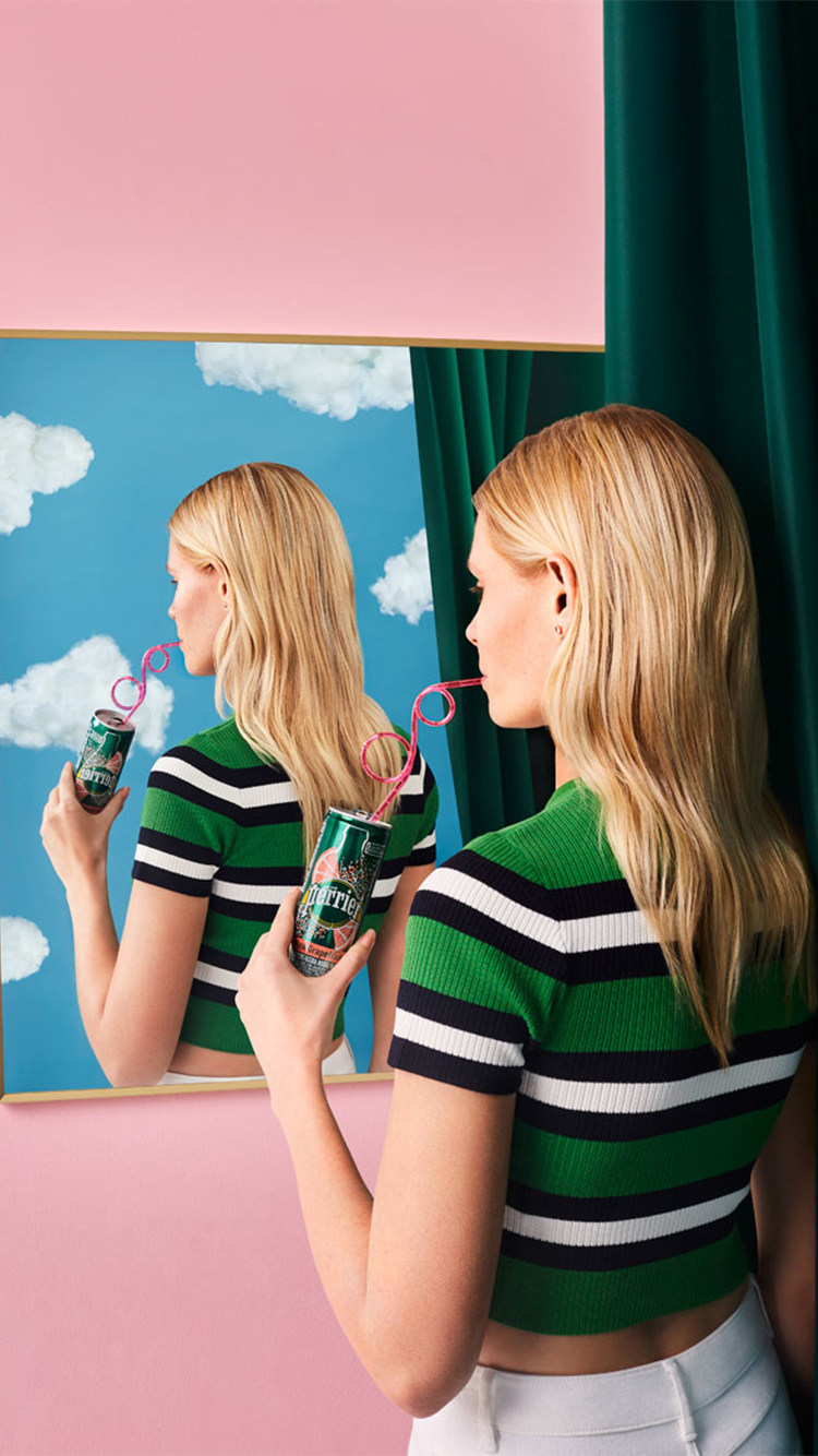 Work by Aleksandra Kingo of a woman staying hydrated by drinking water