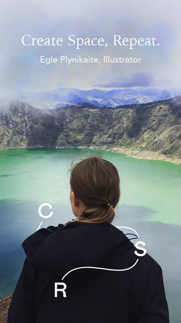 Egle Plytnikaite standing by a green and blue lake with clouds above