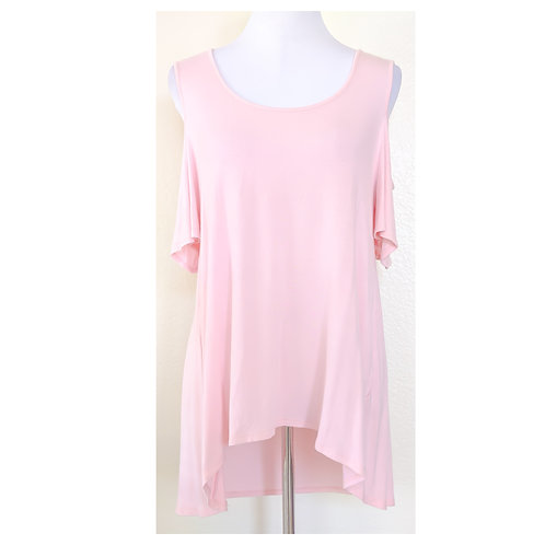 Pink Cold Shoulder Hi Lo Top
