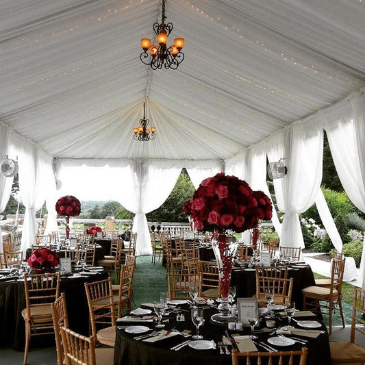 Complete Ceiling draping and billowing sidewalls. Chandeliers are available (photo showing venue's stock chandeliers)
