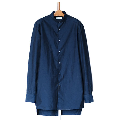 Dropped Shoulder Shirts  Stand Collar Navy