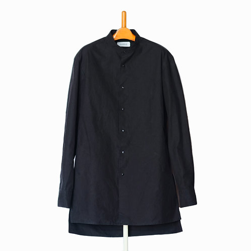 Dropped Shoulder Shirts  Stand Collar Black