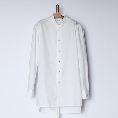 Dropped Shoulder Shirts  Stand Collar White