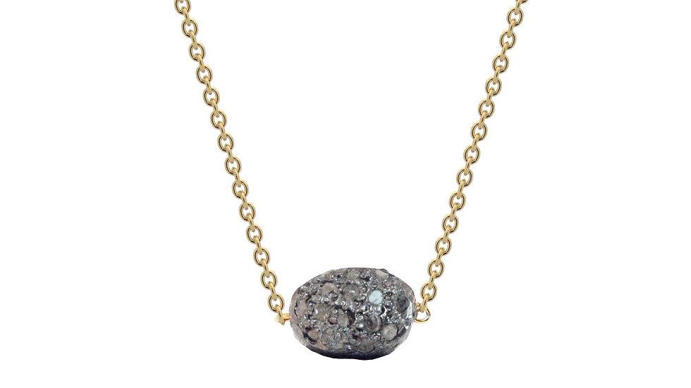 "Diamond Encrusted Meteorite in Gold Plated Sterling Silver, 16"""