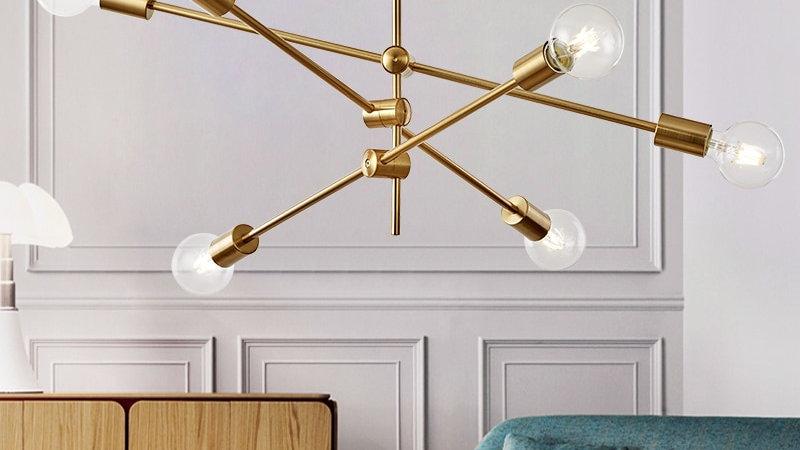 Postmodern Pendant Lights Glass Ball Globe LED Hanging  Iron Rod Pipe Light