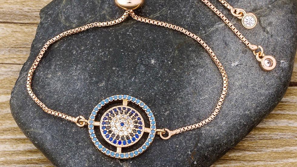 Round Copper Bracelet with Rhinestone