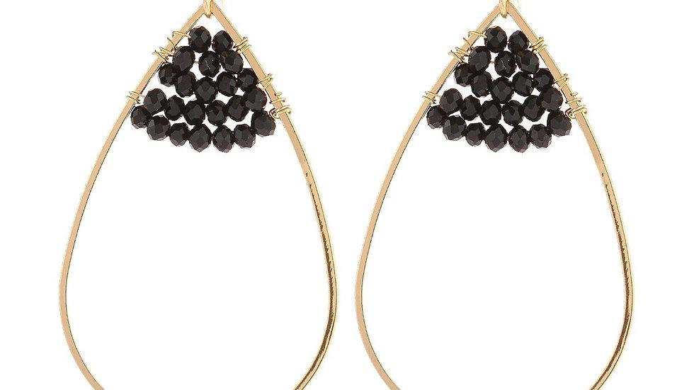 Open Teardrop With Rondelle Beads Earrings