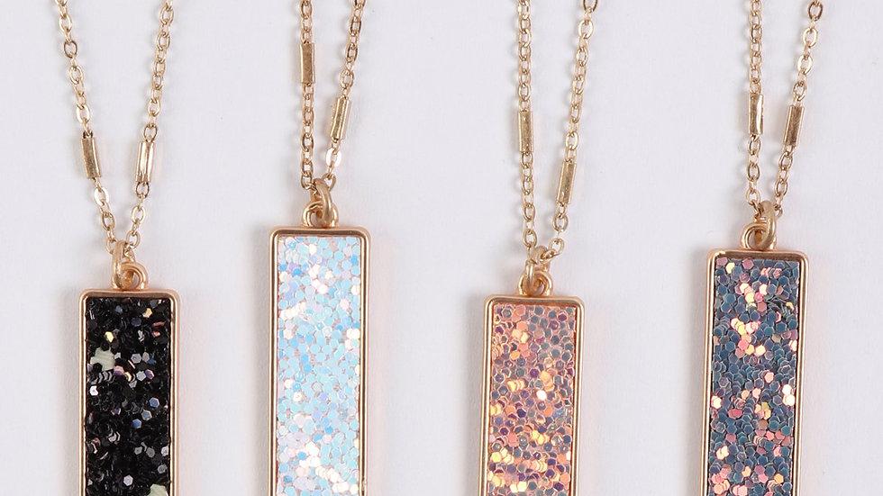 Sequin Glitter Bar Pendant Necklace