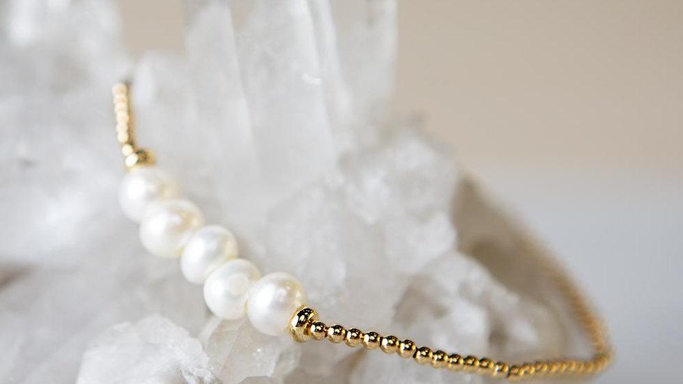 Lily Stretch Bracelet-Pearl