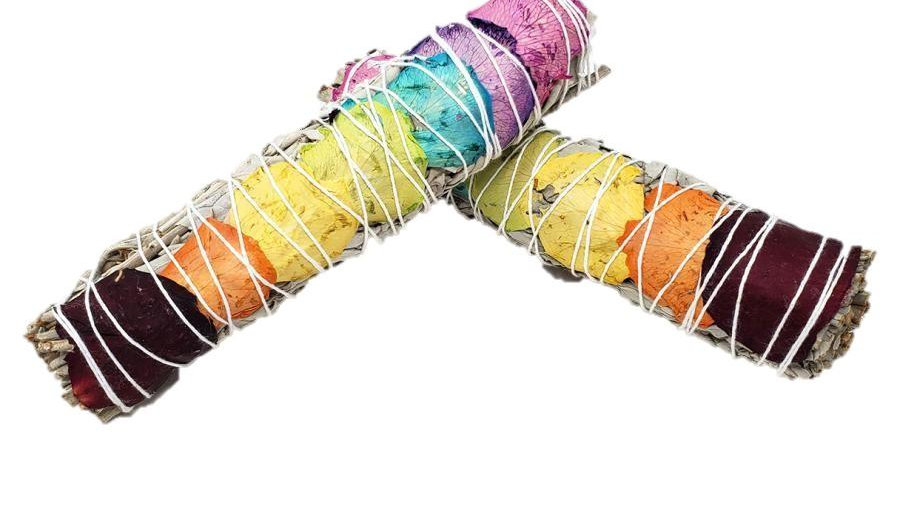 7 Chakra White Sage Smudging Herbs With 7 Color Rose Petals -1 Bundle