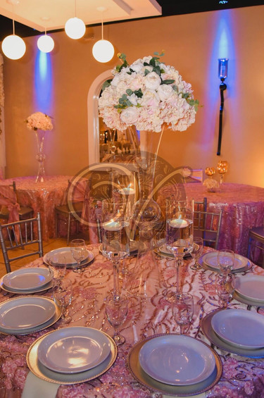 White Dishes and Pink Centerpiece Bouquet