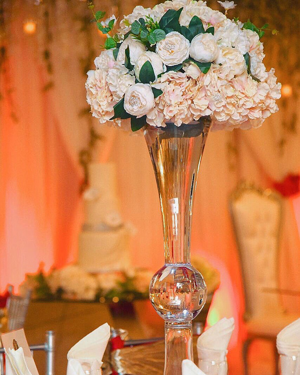 Pink Bouquet in Crystal Vase