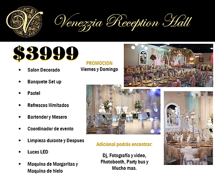 Venezzia Reception Promotions and specials