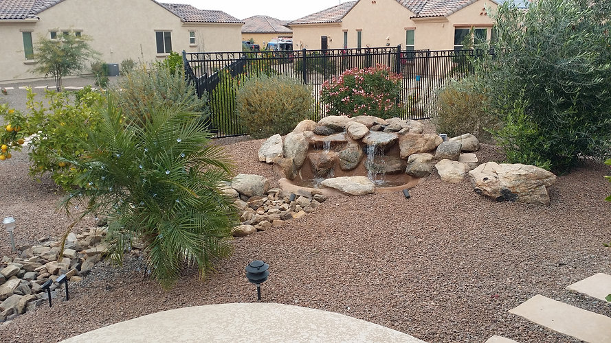 Waterfall with River Rock Accent