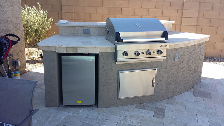 Custom BBQ with Refrigerator and Clean Out Door