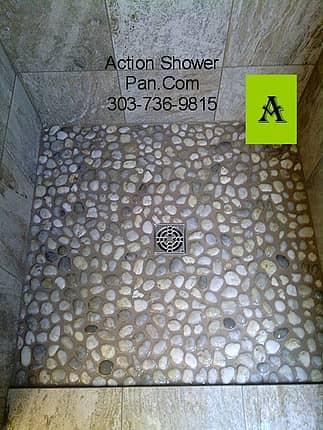 River-Rock-Tile Shower Pan