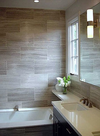 Porcelain tile 12x24 set in a brick pattern Broomfield,CO