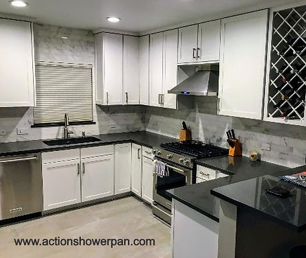 Marble subway kitchen backsplash
