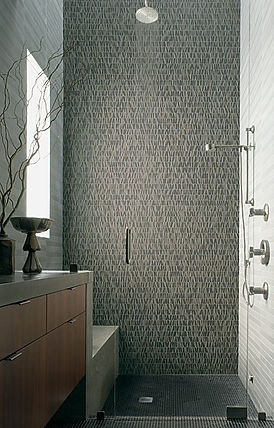 Exquisite Selvaggio stone tile mosaic and limestone tile provided by Ann Sacks.Custom tile installer Action Shower Pan.Com Brighton,Colorado