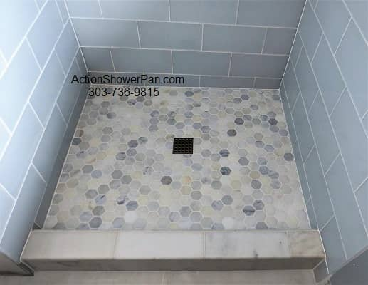Marble-Glass-Tile Shower Pan