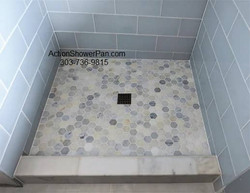 Marble-Glass-Tile Shower Pan