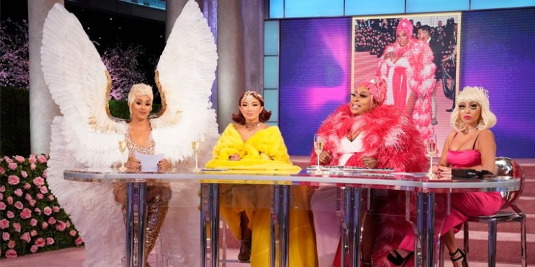The ladies of The Real (Tamera Mowry as Katy Perry, Jeannie Mai as Rihanna, Loni Love as Lizzo and Adrienne Houghton as Lady Gaga at the Met Gala)