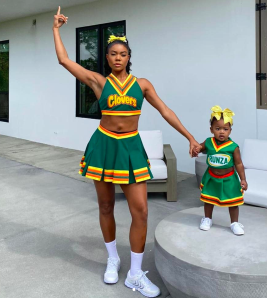 Gabrielle Union and Daughter Kaavia as East Compton Clovers