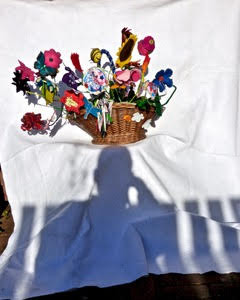 Self Portrait with Basket of Flowers