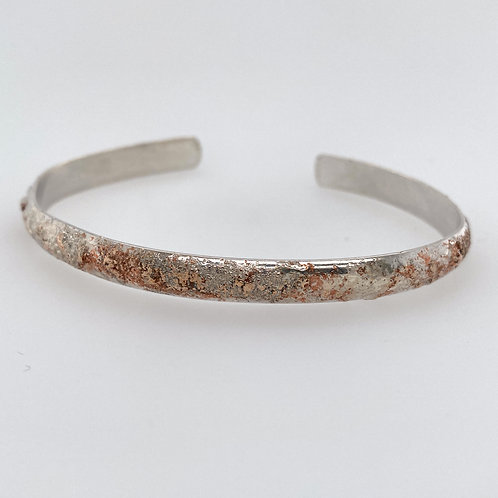 Reticulated Sterling Silver Cuff Dusted with brass and copper