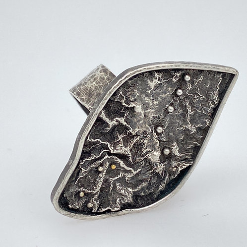 Fused and Reticulated Oxidized and Textured Sterling and Gold Ring