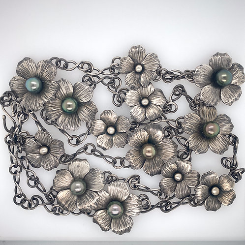 "44"" Long Forged and Flower Tahitian Pearl Necklace"