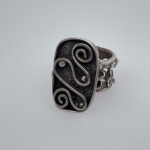 Swirled Fused Dusted and Oxidized Silver Ring w/ Fancy shank