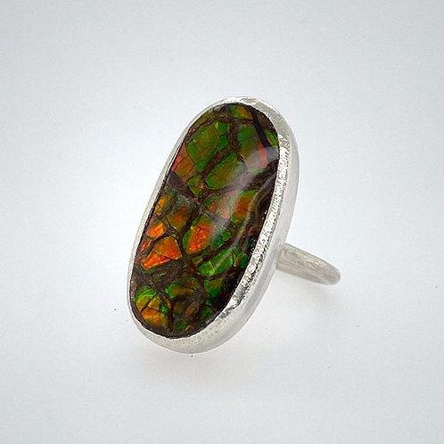 Ammolite Chunky Bezel Ring