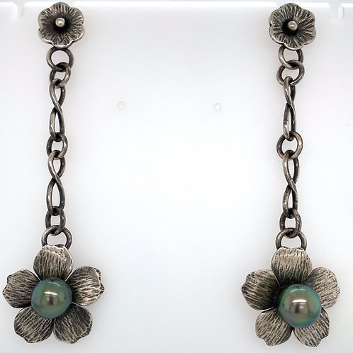 Forged and Flower Tahitian Pearl Earrings
